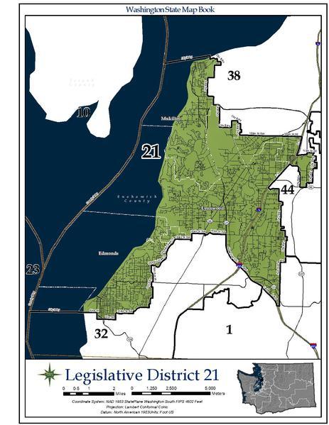 Washington State's 21st legislative district includes parts of Edmonds, Lynnwood and Mukilteo.