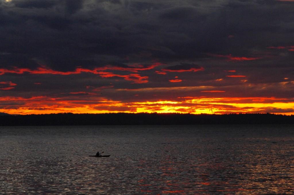 From Tom Dockins: Tuesday's sunset turns Edmonds skies fiery.