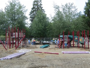The playground equipment being put into place during the community build. (Photo by Caitlin Plummer)