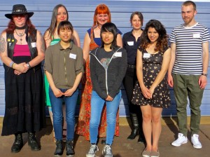 Scholarship winners attending the recent EAFF reception at ArtWorks in Edmonds are, from left, back row: Rebeca Reagan, Amy Pierce, Ginger Wilson, Brooke Frederick, Spenser Shores ; front row: JiSeon Lee, JiEon, Lee, Trisha Spicer. Not pictured: Samantha Piercy, Kelsey Barnes and Jaykhlan Nyamjav
