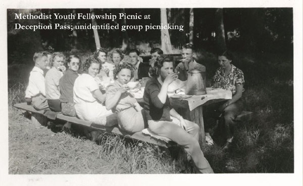 Three of the historical photographs on display at the Edmonds Library during the month of July