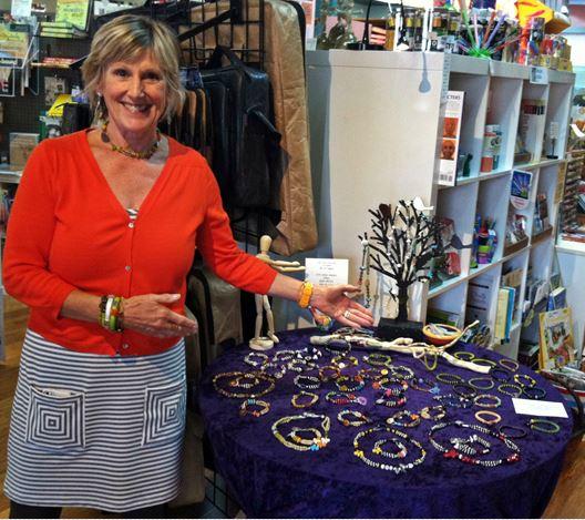 Artist Robin Westbrook displays her jewelry.
