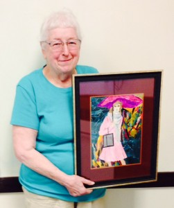 Mary McDonald with her art.