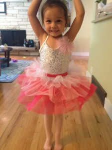 """4-year old Lilah Pickett (daughter of Nicole and Jacob Pickett) practices her ballet positions in preparation for Sunday's """"Art in Motion"""" dance recital."""