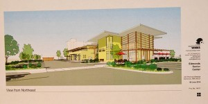 Artist's rendering of the new senior center preliminary concept presented by The Environmental Works. This view is looking south at the northeast corner of the building, across the parking area.