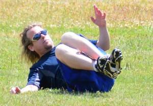 Stevie Kavanaugh pulls off a perfect leg catch.