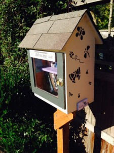 Situated beside a sidewalk garden, butterflies set off Anya Rutherford's Little Free Library.