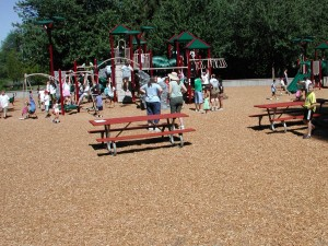 This area to the east of the playground equipment holds picnic tables but will be home to the spray park next spring.