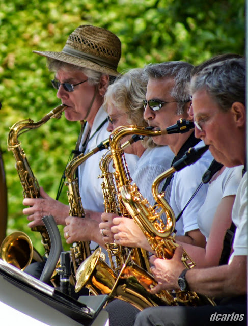 """Members of the 85th Street Big Band playing """"April in Paris."""""""