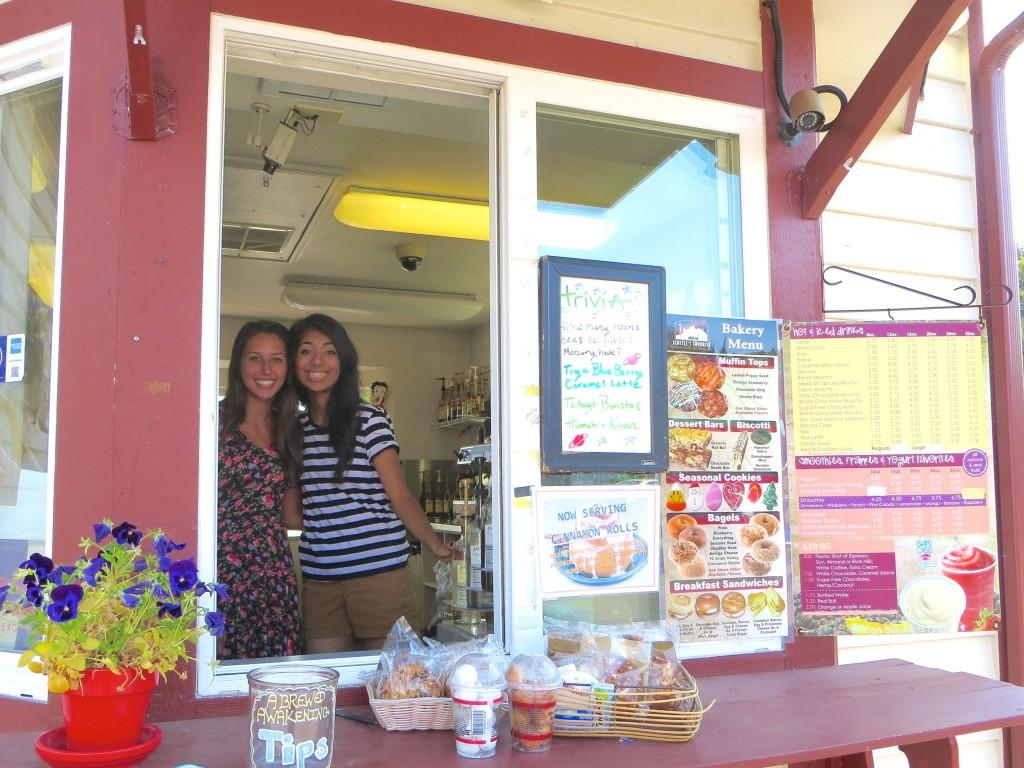 From left, baristas Hannah Brenchley and Kiran Masih.