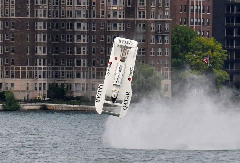 The Spirit of Qatar flips in Detroit.