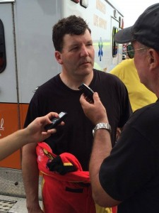 Driver Jon Zimmerman confirms to the press take he feels fine after the 170-mph crash.