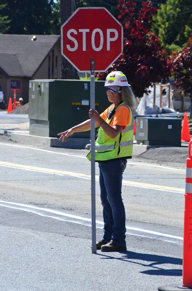 Flaggers are stationed throughout the site to help keep traffic flowing.