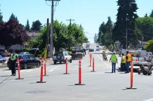 Five Corners construction. (Photo by Larry Vogel)