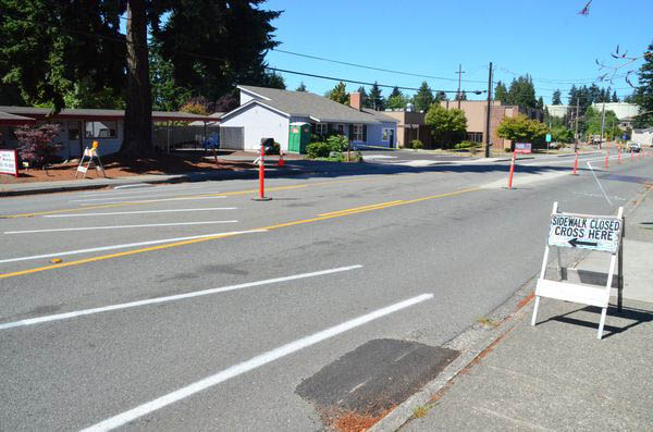 Pedestrians in the area must also cope with closed sidewalks, temporary crosswalks, and long waits to cross the street.