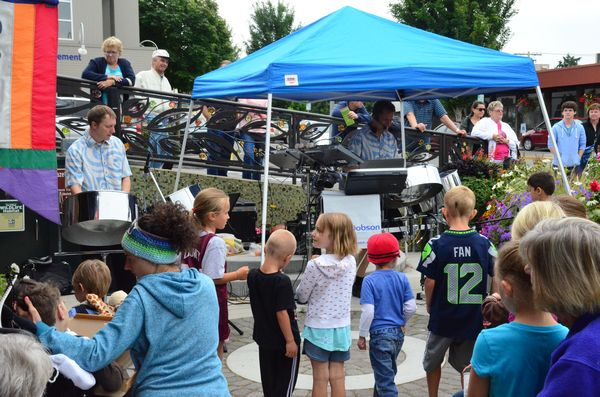 Ian Dobson's Steel Drum Party was the featured act at Tuesday's Edmonds Summer Concert in the Park at the Hazel Miller Plaza in downtown Edmonds.