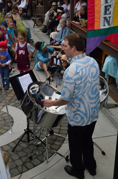 Christian Krehbiel's steel drum solo drew a group of young admirers.