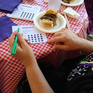 A judge marks her ballot during last year's Tasteoff.
