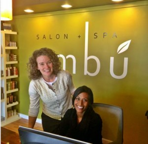 Beth Sanger with Ombu Salon + Spa team member Heather.