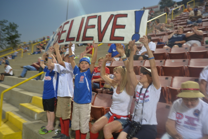 Fans support Pacific Little League during a semifinal game against Montana on Thursday.