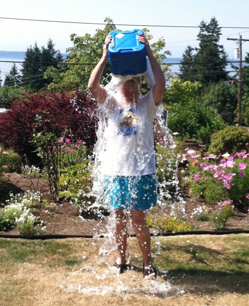 Edmonds City Councilmember Diane Buckshnis took the ALS Ice Bucket Challenge Saturday afternoon -- a  public awareness and fundraising campaign that has swept across the nation in recent weeks. Buckshnis said she took the challenge -- which involves being dunked with ice water -- in honor of the late Councilmember Peggy Pritchard Olson, who died in November 2009 following a battle with amyotrophic lateral sclerosis. Buckshnis proceeded to challenge members of the Edmonds news media. My Edmonds News Publisher Teresa Wippel and writer/photographer Larry Vogel will accept the challenge Sunday afternoon during the City's picnic honoring its volunteers.