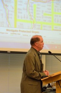 Edmonds Planning Manager Rob Chave reviews the Westgate development plan prior to the public hearing.
