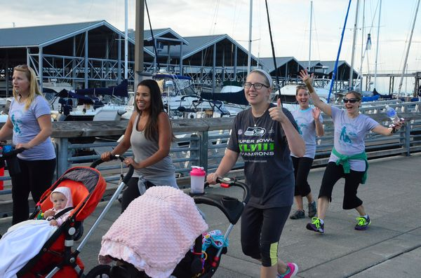 Spirits were still high as the group passed through the marina heading for the turnaround.