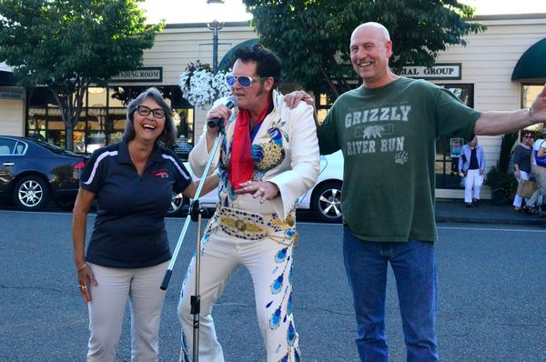 Elvis impersonator Shane Cobane is joined by Valerie Claypool of the Edmonds Chamber of Commerce and Todd Williamson, owner of Engel's Pub who generously hosted Cobane's Elvis show.