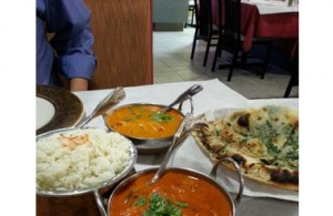 Copper Pot dishes and Naan.
