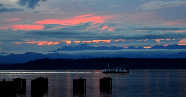 A pink-tinged sunset shot from Larry Vogel Monday.