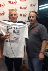 Kicker Brett Shafer was named the Red Onion Burgers Player of the Game on the Sound Live Sports Network for his game-winning overtime field goal.