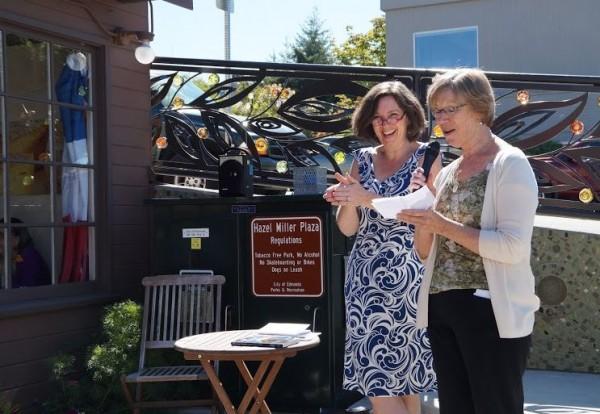 Former Poet Laureate Kathleen Flenniken with Lesly Kaplan.