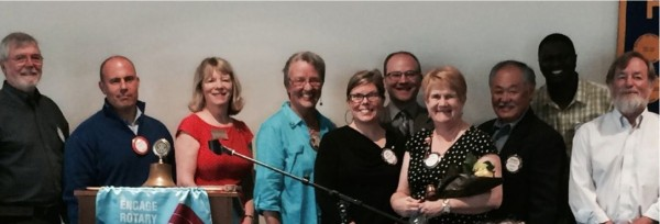 The 2014-15  board of  the  Edmonds Rotary Noon Club was sworn in earlier this month.    They are L-R, Mike Kealy, Robert Jorgenson, Lynn Cheeney, Carol Kinney, Beth Wetenhaver-Kealy, Tim Schell, President Libby Freese, Richard Okimoto, Lamin Maneh and Pat Shields.  Not pictured are Brent Hagen,  Sophie Hamilton and Chris Steiner.