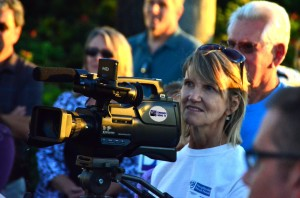 Me -- shooting video at the Edmonds Embraces Diversity walk Sept. 7. (Photo by Larry Vogel)