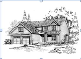 The artist's rendering of the house being built this year. (Courtesy of Architects NW)