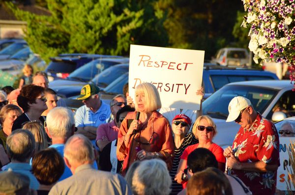 """""""This community of Edmonds stands against hate crimes, stands against hatred,"""" said Emily Hill, who organized the event."""