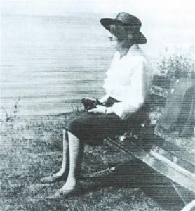 Martha Kraencke on her bench.