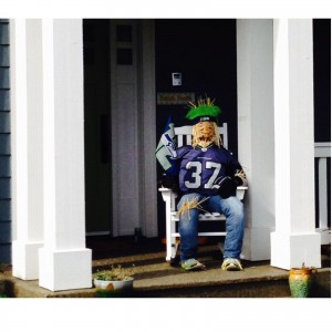 """Werre Family - 227 2nd Ave. N. Shannon Werre and the family's au pair, Citlaly designed """"Mr. Seahawk Scarecrow"""""""