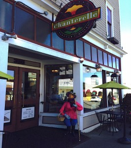 """""""Chantrelle Lady"""" is on her way to look for the famous mushrooms that bear the name of her benefactor's (Brooke Baker) hometown bistro."""