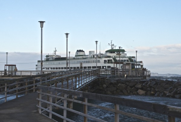 Julia Wiese was on the Edmonds pier during the storm Saturday morning and took these photos of the Washington State ferry Spokane taking three tries before it was finally able to dock in heavy winds.