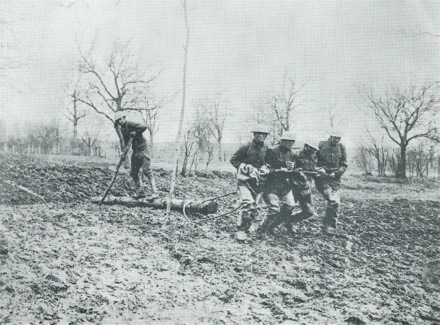 WWI soldiers in the mud.