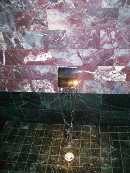 The master bath.  Sheet flow spout.  Roman tub drain.