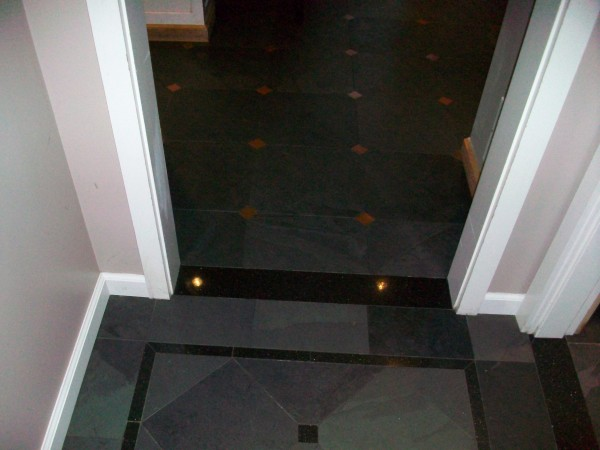 Entry floor to kitchen floor.