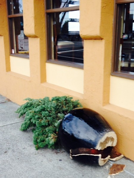 A planter outside Demetri's restaurant that was knocked over by high winds.