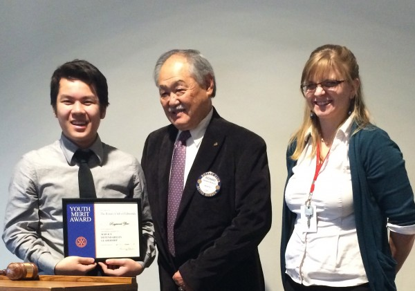 Meadowdale High School student Raymond Zhao received the November Student of the Month Award from the Rotary Noon Club on Tuesday Nov. 25.  Richard Okimoto presented the award.  Samantha Paul, pictured here, is a counselor at Meadowdale High School and coordinates the program with the Rotary Club.