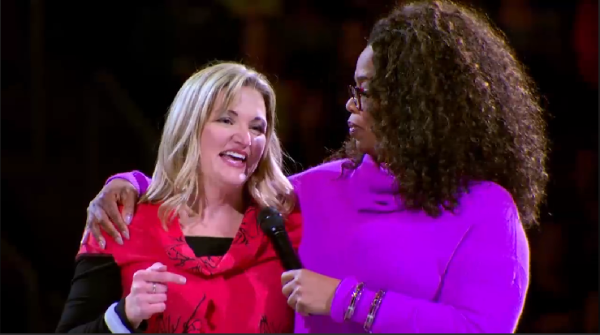 Peggy Farah with Oprah Winfrey.