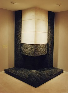 Downstairs study fireplace.