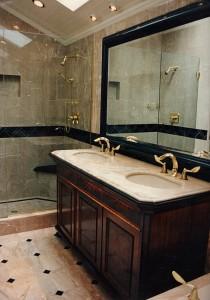 Master bathroom facing the shower.