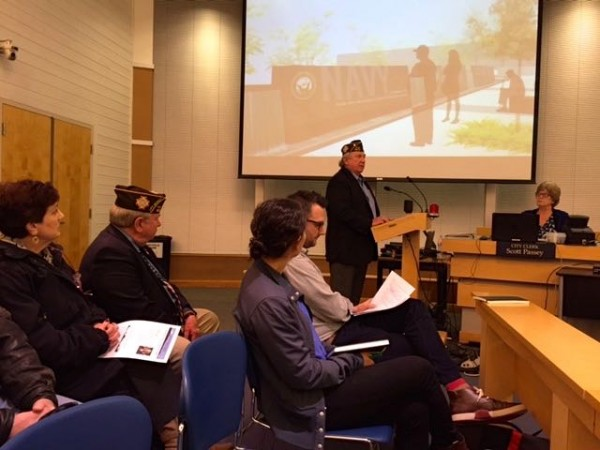 Veteran Ron Clyborne speaks to the Edmonds City Council, with the proposed Veterans Plaza design as a backdrop.