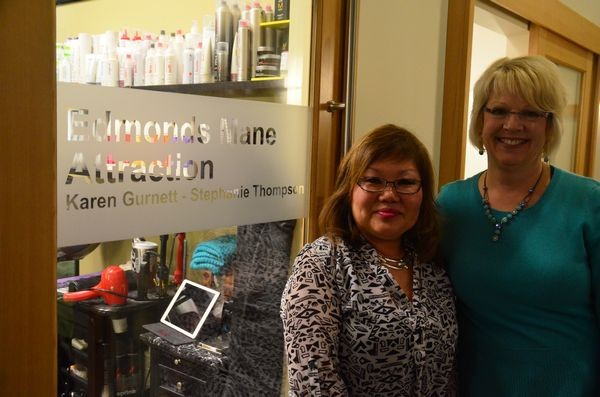 "The first occupants of the Mosaic building were long-time Edmonds hair stylists Karen Gurnett and Stephanie Thompson. Owners of the Mane Attraction for 22 years, they moved the business from its former location further up Fifth Avenue to the new Mosaic Group location in October. ""It's wonderful being here,"" said Gurnett. ""Our customers have better parking, don't have to negotiate stairs, and I don't have the headaches of building upkeep."""
